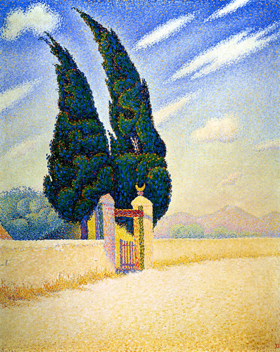 Paul Signac. Two Cypresses, Mistral, 1893