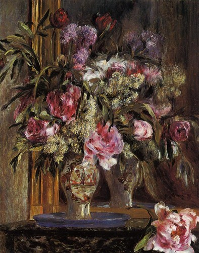 Fine Art wallpaper probably with a bouquet titled Pierre Auguste Renoir. Vase of Flowers, 1871