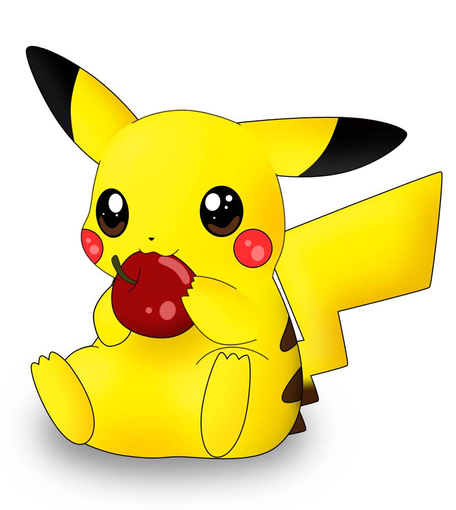 Pikachu nabbing at apple