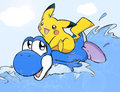 Pikachu riding with Yoshi