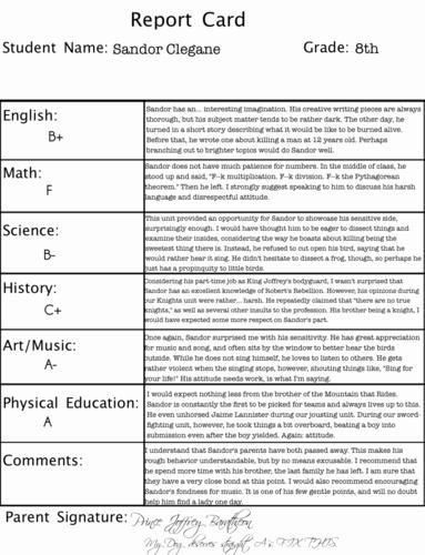 Sandor Clegane's Report Card
