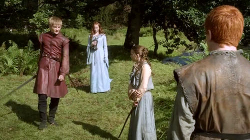 Sansa and Arya with Joffrey