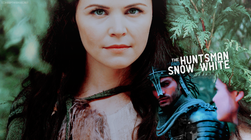 Once Upon A Time wallpaper possibly containing a sign, a street, and a portrait titled Snow White & The Huntsman