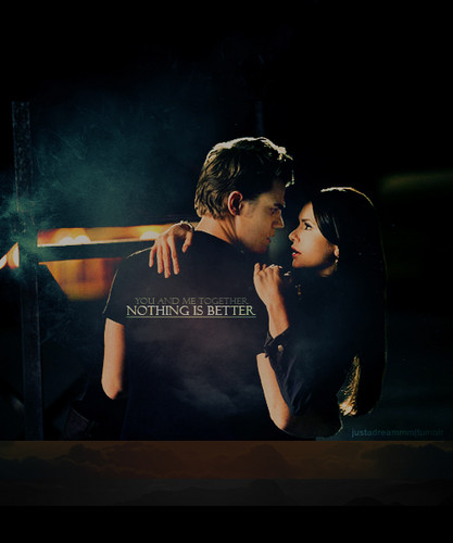Stefan & Elena wallpaper possibly containing a sign and a concert called Stelena