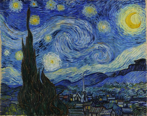 Fine Art wallpaper titled The Starry Night by Vincent van Gogh, 1889