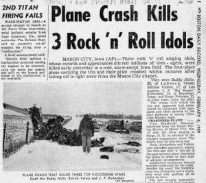 Three young rock 'n' roll stars have been killed in a plane crash