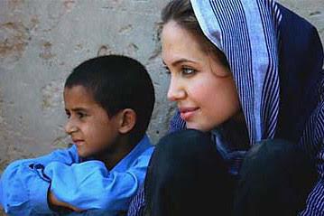 angelina with afghan kids