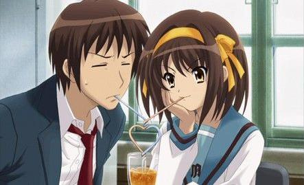 The Melancholy of Haruhi Suzumiya wallpaper probably with a portrait titled kyon and haruhi