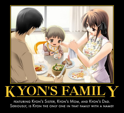 Kyon (The Melancholy of Haruhi Suzumiya) wallpaper probably containing anime titled kyon's family