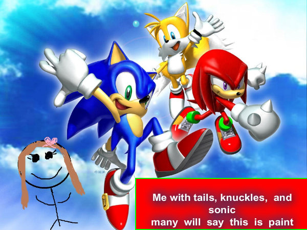 me with tails knuckles and sonic many will say is paint