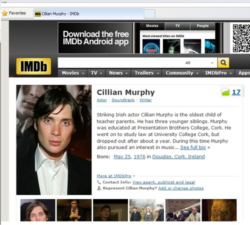 Murphy's rank on IMDb ! - cillian-murphy Photo