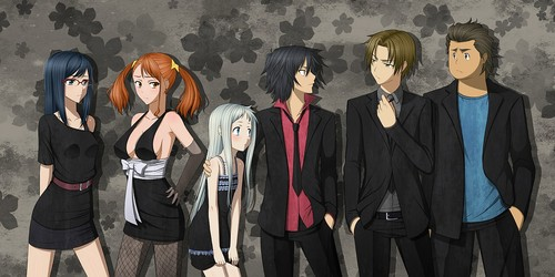 AnoHana wallpaper probably with a well dressed person called super peace busters in black xD