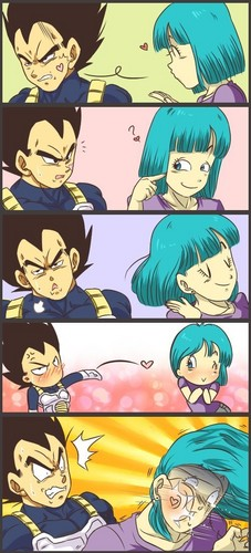 vegeta and bulma blowing kisses