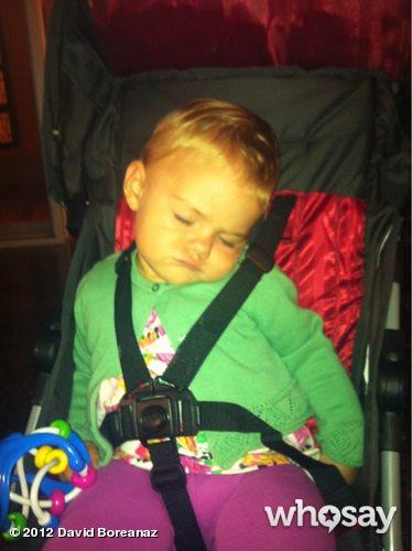 """The real baby Christine. Sleeping on the job."" [Via David Boreanaz]"