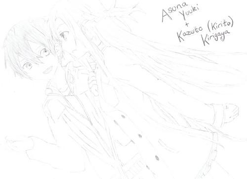 Asuna and Kirito (Drawn kwa Me)