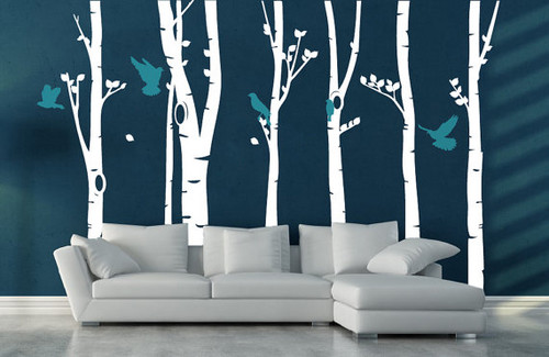 Birch cây Forest With Birds tường Sticker