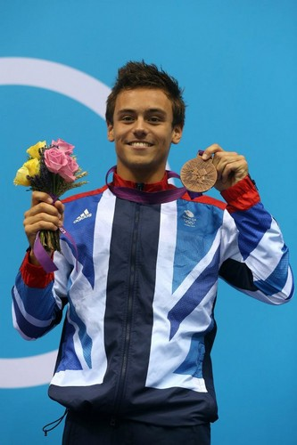 Tom Daley wallpaper possibly containing a sign titled Bronze Olympic Medal Celebrations 2012 (11/08/12)