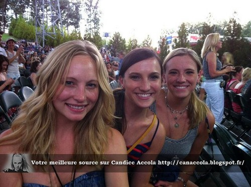 Candice Accola wallpaper probably with a street and a portrait called Candice with friends at The Fray's concert - August 8th 2012.