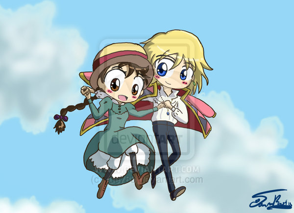 Chibi Howl and Sophie