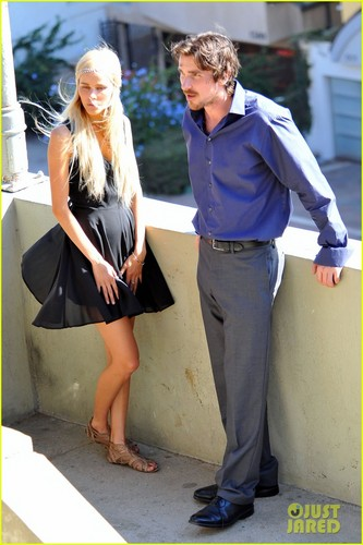 Christian Bale & Isabel Lucas on the set of 'Knight of Cups'