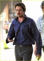 Christian Bale on the set of 'Knight of Cups'