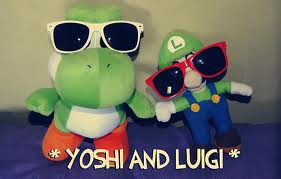 Yoshi wolpeyper containing sunglasses titled Cool Yoshi and Luigi mga manika