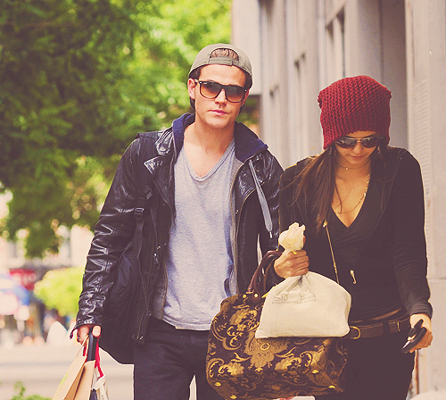 Paul Wesley and Nina Dobrev wallpaper possibly containing sunglasses called Dobsley