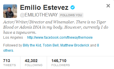 Emilio Estevez Follows Me :'D <3 <3 <3