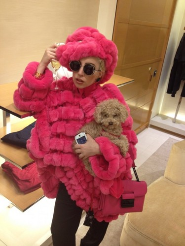 Gaga & Fozzi at Vuitton in NYC (Aug. 7)