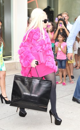 Lady Gaga wallpaper probably containing a hip boot, a box coat, and an outerwear titled Gaga shopping in NYC (August 7)