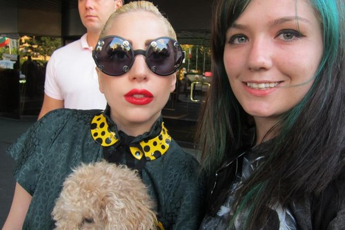 Gaga with fans outside her hotel in Sofia, Bulgaria (Aug. 12)