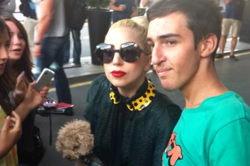 Gaga with Фаны outside her hotel in Sofia, Bulgaria (Aug. 12)