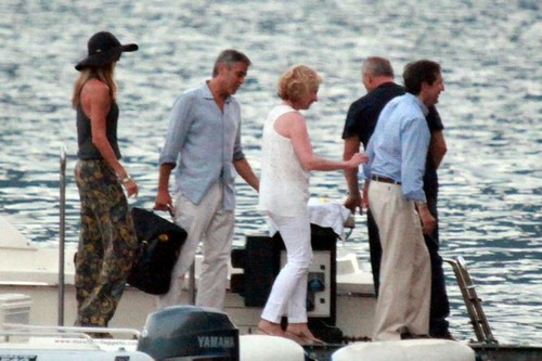 George Clooney and Stacy Keibler Get on a Boat [August 9, 2012]
