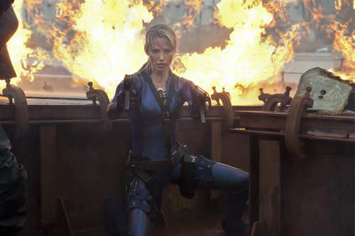 Resident Evil wallpaper with a fire and a fire titled Jill Valentine in RE:Retribution 2012