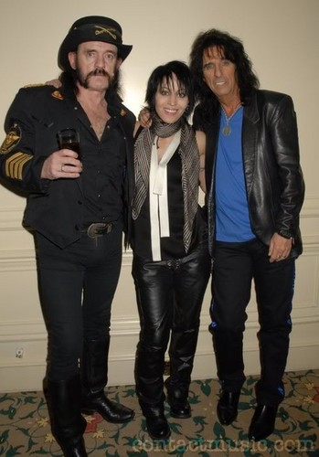 Joan with Lemmy Klimister (Motorhead) and Alice Cooper