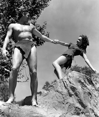 Johnny Weissmuller and Maureen O'hara as Tarzan and Jane