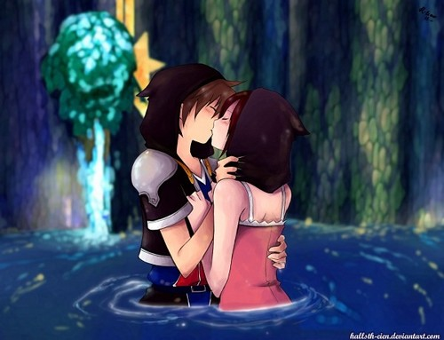 Kingdom Hearts Обои with bare legs entitled Kairi and Sora