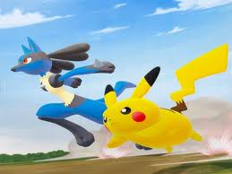 Lucario and Pikachu racing