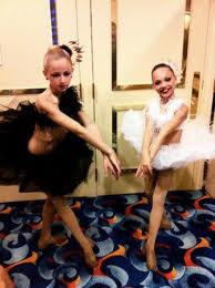 Maddie and Chloe Wearing Black лебедь Costumes