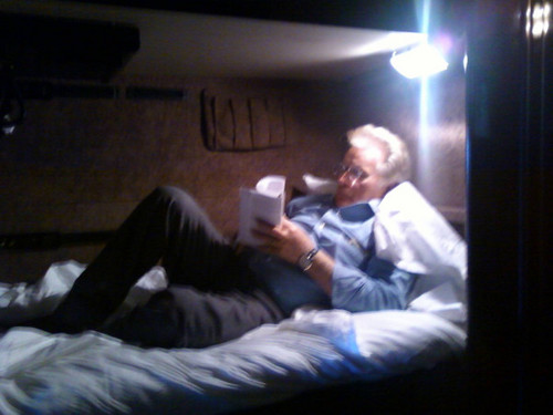 Martin in his bunk on The Way's Tour bus, headed to D.C. =D =D