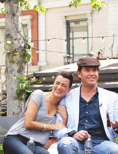 """Cote de Pablo and Michael Weatherly at """"Extra"""" Interview with the Cast of """"NCIS"""