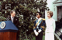 Michael During His 1984 Visit To At The With Then-President Ronald And First Lady, Nancy