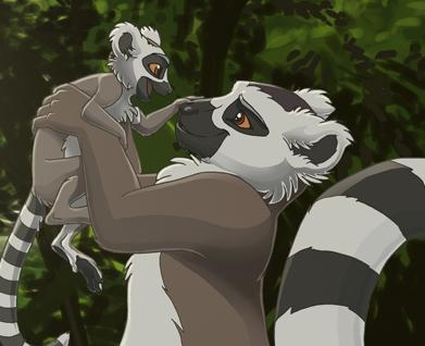 Mommy and babeh lemur .w.
