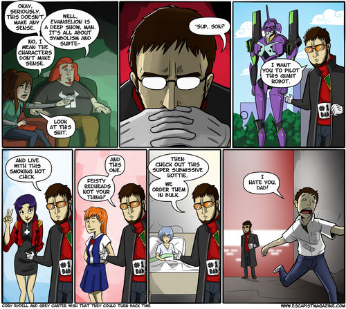 NGE characters summed up in 1 strip