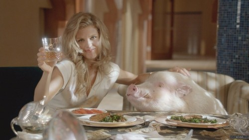 Naomi with a pig