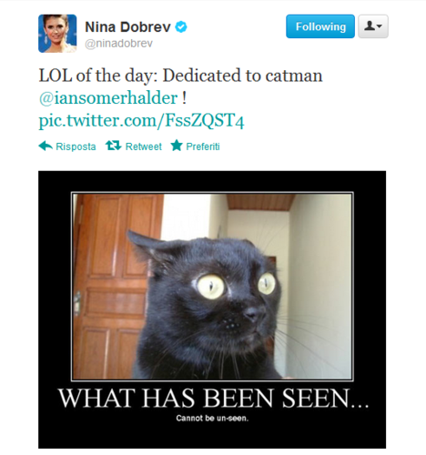 Ian Somerhalder and Nina Dobrev wallpaper titled Nian Tweet