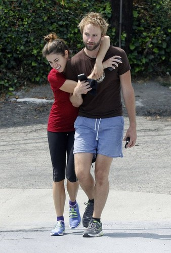Nikki and her husband Paul McDonald enjoying a romantic walk in Los Angeles
