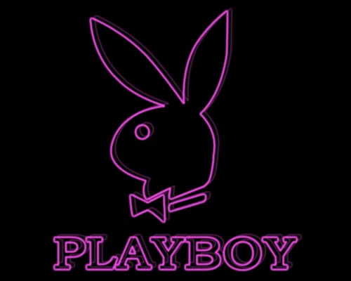 Playboy wallpaper possibly with a sign titled PLAYBOY