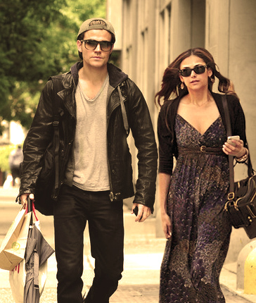 Paul Wesley wallpaper possibly with sunglasses entitled Paul Wesley and Nina Dobrev <3
