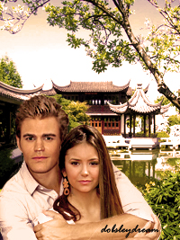 Paul Wesley wallpaper with a street and a portrait called Paul Wesley and Nina Dobrev <3